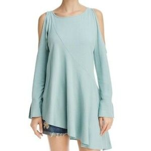 Free People NWT Green Tunic Top Cold Shoulder